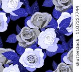 seamless pattern with roses.... | Shutterstock .eps vector #1107227744