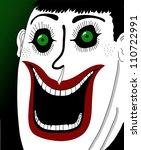 smiling clown closeup - stock vector