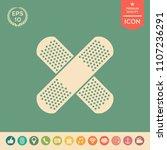 cross adhesive bandage  medical ... | Shutterstock .eps vector #1107236291