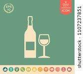 bottle of wine and wineglass... | Shutterstock .eps vector #1107237851