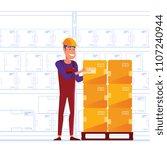 warehouse worker is storing... | Shutterstock .eps vector #1107240944
