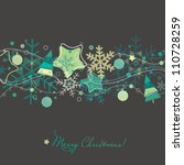christmas card with xmas tree... | Shutterstock .eps vector #110728259