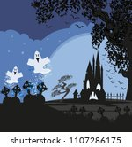 halloween landscape with... | Shutterstock .eps vector #1107286175