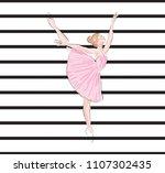 ballet girl pink pattern black... | Shutterstock .eps vector #1107302435