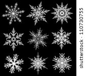 snowflakes winter set  vector... | Shutterstock .eps vector #110730755