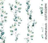 watercolor eucalyptus branches...   Shutterstock . vector #1107332894