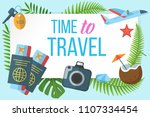 time to travel horizontal... | Shutterstock .eps vector #1107334454