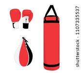 boxing sport set  boxing gloves ... | Shutterstock .eps vector #1107335537