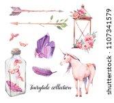 watercolor fairytale set. hand... | Shutterstock . vector #1107341579