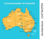 map of australia with major... | Shutterstock .eps vector #1107362954