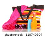 beach bag with accessories... | Shutterstock . vector #110740304