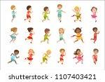 kids running set   Shutterstock .eps vector #1107403421