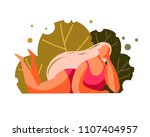 flat woman with long blonde... | Shutterstock .eps vector #1107404957