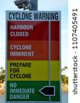 Small photo of Magnetic, Townsville, Queensland, Australia, June 4th 2018, Cyclone warning sign