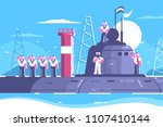captain with crew standing on... | Shutterstock .eps vector #1107410144