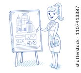 businesswoman presenting new... | Shutterstock .eps vector #1107413387