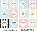 neutral milestone card for baby ... | Shutterstock .eps vector #1107417605