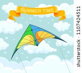 flying colorful kite in the sky ... | Shutterstock .eps vector #1107424511
