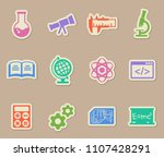sciences color vector icons on... | Shutterstock .eps vector #1107428291
