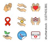 charity color icons set.... | Shutterstock .eps vector #1107431381