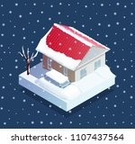 natural snow disaster with... | Shutterstock .eps vector #1107437564