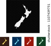 map of new zealand | Shutterstock .eps vector #1107439751