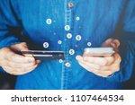 online banking businessman... | Shutterstock . vector #1107464534