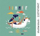 summer beach cartoon vector... | Shutterstock .eps vector #1107474947