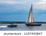blue sailboat in the travel by... | Shutterstock . vector #1107493847