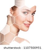 beautiful female face in... | Shutterstock . vector #1107500951