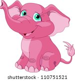 Stock vector very cute pink elephant 110751521