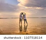 silhouette of sweetheart on the ... | Shutterstock . vector #1107518114