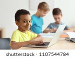 cute african american boy with... | Shutterstock . vector #1107544784