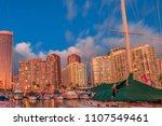 beautiful honolulu skyline and... | Shutterstock . vector #1107549461