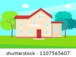 cottage house multi storey... | Shutterstock .eps vector #1107565607