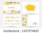 honeycombs and bee. design... | Shutterstock .eps vector #1107574835