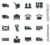 black vector icon set truck... | Shutterstock .eps vector #1107578717