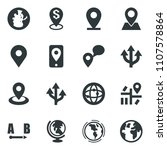black vector icon set globe... | Shutterstock .eps vector #1107578864
