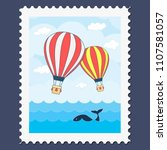 flat vector post stamp with two ... | Shutterstock .eps vector #1107581057