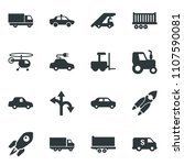 black vector icon set tractor... | Shutterstock .eps vector #1107590081