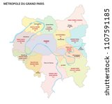 metropolis of greater paris... | Shutterstock .eps vector #1107591185