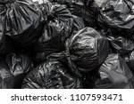 background garbage bag black... | Shutterstock . vector #1107593471