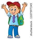 happy pupil boy theme image 1   ... | Shutterstock .eps vector #1107597245