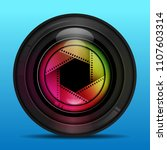 colorful camera photo lens with ... | Shutterstock .eps vector #1107603314