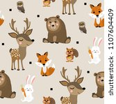 forest animal seamless pattern. ... | Shutterstock .eps vector #1107604409