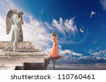 Dream to fly. Are used decorative elements of a cathedral  of 16 century. - stock photo