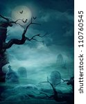 Stock photo halloween design background with spooky graveyard naked trees graves and bats and copyspace 110760545