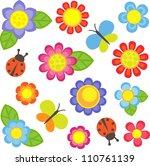 vector flowers  butterflies and ... | Shutterstock . vector #110761139