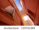 small narrow street with traditional window in Saint Tropez, France - stock photo