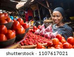 a girl in a typical african...   Shutterstock . vector #1107617021